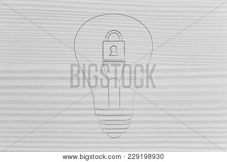 Copyright Protection Or Innovative Security Concept: Lightbulb With Lock Over Filament
