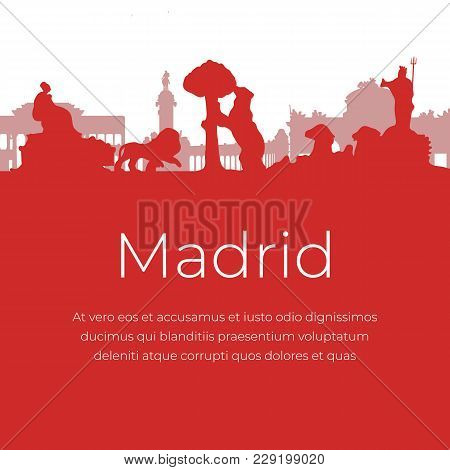 Madrid Spain Landmarks And Monuments Red Silhouettes Isolated On White Background. Banner Of The Fam