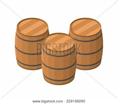 Isometric Barrels Isolated On White Background. Wooden Barrel For Alcohol Vector Illustration. Three