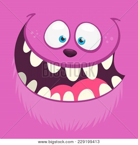 Angry Cartoon Monster Face With A Big Smile. Vector Halloween Pink Monster Illustration