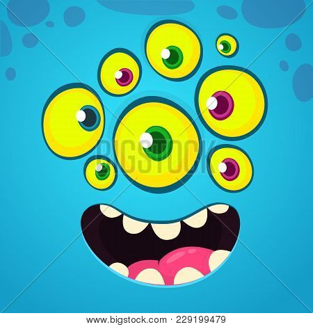 Cartoon Funny And Cool Face With Many Eyes. Vector Halloween Blue Monster Avatar With Wide Smile