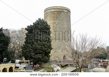 The Maiden Tower Also Known As Giz Galasi, Located In The Old City In Baku, Azerbaijan. Maiden Tower