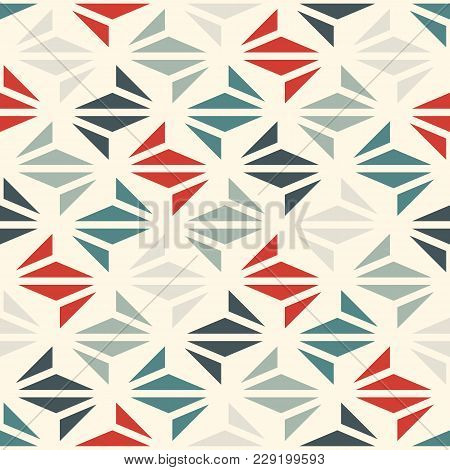 Pastel Color Modern Print With Geometric Shapes. Contemporary Abstract Background With Repeated Tria