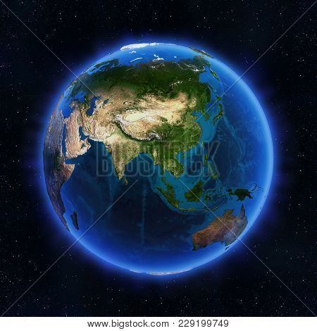 Asia Globe. Elements Of This Image Furnished By Nasa 3d Rendering