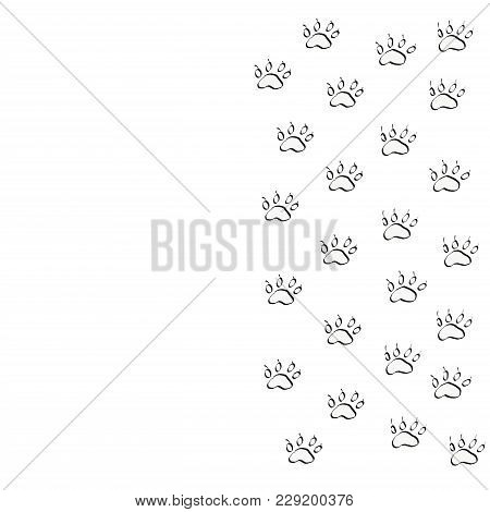 Prints Of Silhouettes Of Dog Paws. Traces Of The Beast On A White Background Isolated.