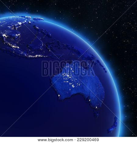 Australia And South-east Asia. Elements Of This Image Furnished By Nasa 3d Rendering