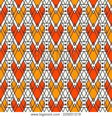 Ethnic Style Abstract Seamless Pattern With Repeated Diamonds. Native Americans Ornamental Backgroun