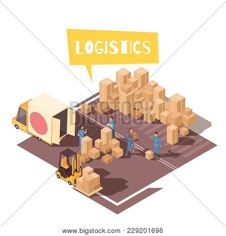 Isometric Logistic Composition With Human Characters Of Warehouse Loaders Vehicles And Bunch Of Card