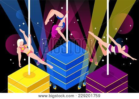 Pole Dance Performance Of Girls In Bikini In Light Rays On Dark Sparking Background Vector Illustrat