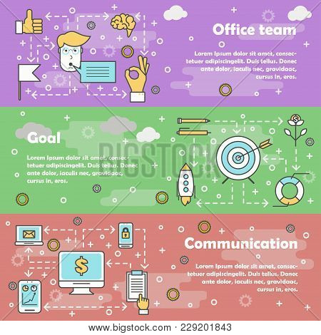 Vector Set Of Horizontal Banners With Office Team, Goal And Communication Modern Line Art Flat Style
