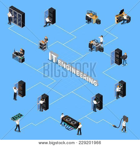 Isometric Flowchart With Information Technology Engineering Specialists And Equipment On Blue Backgr