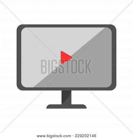 Security Surveillance Video Monitor Display Vector Flat Isolated Icon. Guard Watch Cctv Equipment Fo