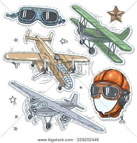 Vector Illustration Sketch, Of Comic Style Colorful Icons, Set Retro Old Aircraft, Pilot Helmet And