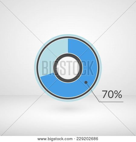 70 Percent Pie Chart Isolated Symbol. Percentage Vector Infographics. Circle Diagram Sign. Business