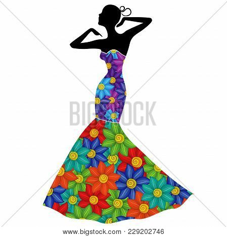 Attractive Graceful Lady In Long Gown With Colorful Flowers Isolated On The White Background, Vector