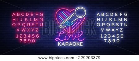 Karaoke Love Logo In Neon Style. Neon Sign, Bright Nightly Neon Advertising Karaoke. Light Banner, B