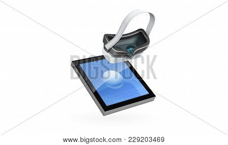 Graphic Tablet And Digital Glasses For 3d Modeling, Isolated White Background. Eps10 Vector Illustra