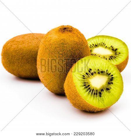 Kiwi Collection. Half Cut And Whole Kiwi Fruit Isolated On White Background. Set Of Kiwi For Product
