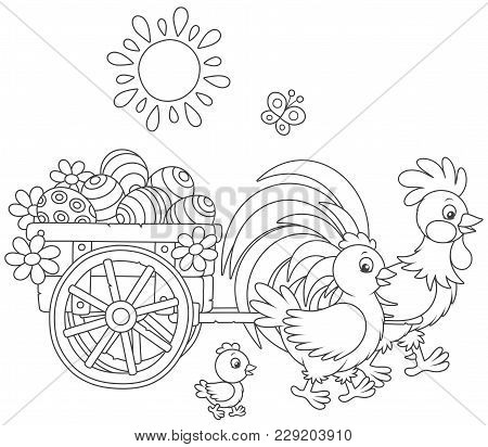 Small Wooden Cart With Painted Easter Eggs Pulled By A Rooster With A Hen And A Little Chick, Black