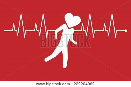 Running Heart Icon. Vector Illustration. Esp 10. Cardio.