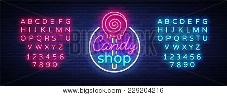 Candy Shop Logo In Neon Style. Store Sweets Neon Sign, Banner Light, Bright Neon Night Sweets Advert