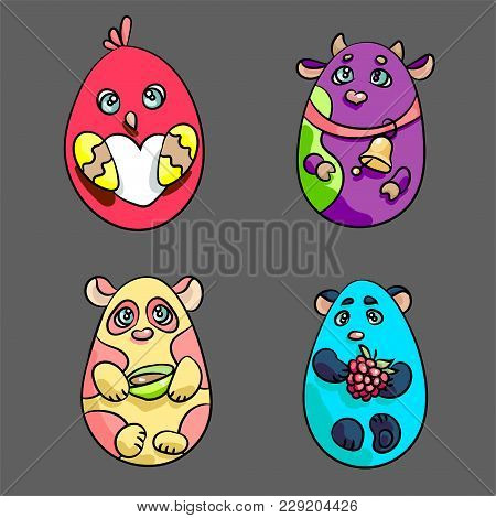 Cute Animals In A Shape Of Easter Eggs. There Are A Cow, A Chicken, Panda And White Bear