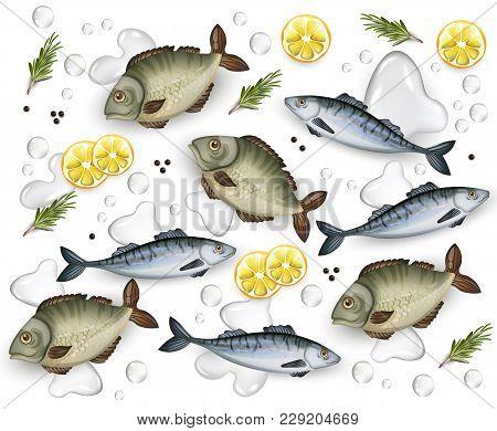 Fresh Fish Pattern Vector Realistic. Water Splash And Lemon Decor 3d Illustration