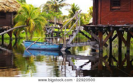 Blue Boat In Cuba