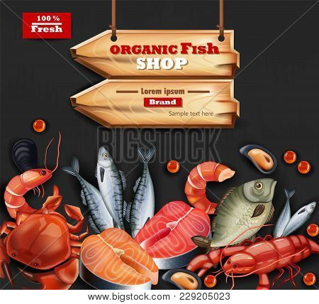 Seafood Card Vector Realistic. Organic Shop Mock Up. Layout 3d Illustration Template. Place For Text
