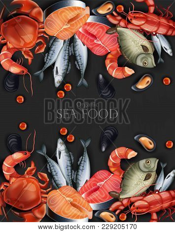 Seafood Banner Vector Realistic. Organic Shop Mock Up. Layout 3d Illustration Template