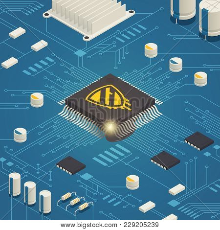 Meltdown Cpu Hardware Vulnerability Bug Isometric Composition With Computer System Board And Malicio