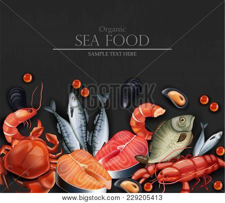 Seafood Card Vector Realistic. Organic Shop Mock Up. Dark Background Layout 3d Illustration Template