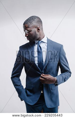 Cool Urban Stylish Black American Man. Fashion Studio Shot.