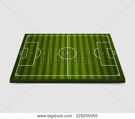 3d Football Field. Soccer Field Isolated On White Background. Vector Illustration. Eps 10.