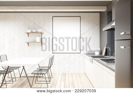White Wood And Concrete Dining Room Interior With A Wooden Table, Metal Chairs, Wooden Countertops A