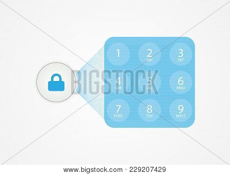 Conceptual Technologies Of The Future, White Protection Button. Lock Button With Password Input Wind