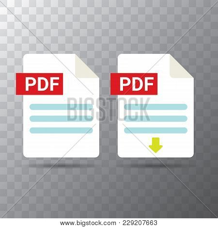 Vector Flat Pdf File Icon And Vector Pdf Download Icon Set Isolated On Transparent Background. Vecto