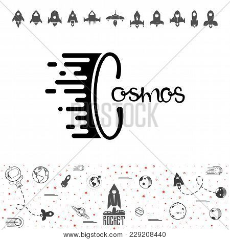 Cosmos And Rocket. Science And Shuttle, Planets In Orbit And Space, Startup Business. Vector Illustr