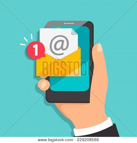 Concept Of New Letter Coming To The Email In Mobile Mail. Notification Of One New Message In Smartph