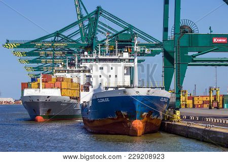 Antwerp, Belgium - Jul 9, 2013: Container Ships Moored At The Msc Home Container Terminal In The Por
