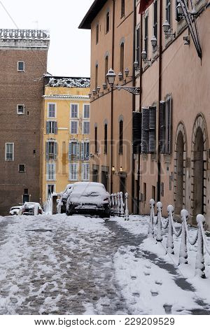 Snow Covers The Streets Of Rome, Italy. Ascent Of The Grillo.