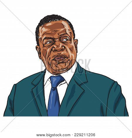 Emmerson Mnangagwa The President Of Zimbabwe. Portrait Caricature Vector Illustration. Harare, March