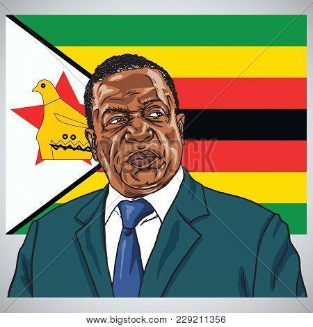 Emmerson Mnangagwa The President Of Zimbabwe With Flag Of Zimbabwe Background. Portrait Caricature V