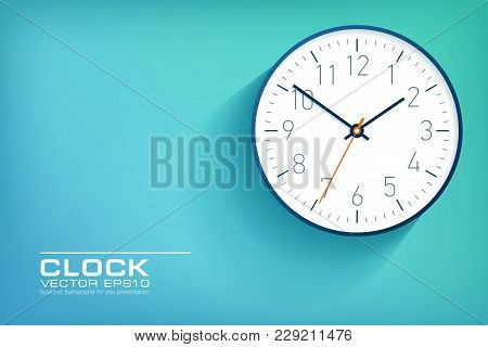 Realistic Simple Clock In Flat Style With Numbers, Watch On Green And Blue Background. Business Illu