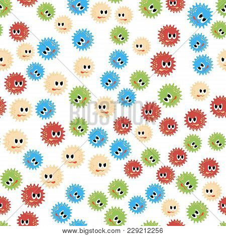 Colored Cartoon Microbes Seamless Pattern On White Background. Pandemic Colored Backteria. Dangerous