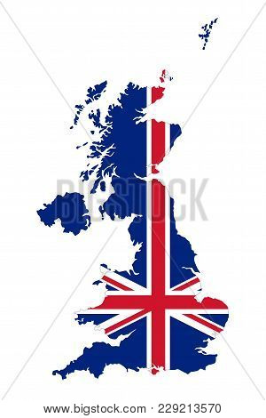 Union Jack In The Outline Of United Kingdom. Flag In Red, Blue And White Colors. Royal Union Flag Wi
