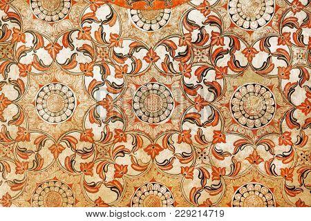 Kandy, Sri Lanka - Jan 7, 2018: Beautiful Antique Fresco With Floral Patterns And Geometric Inside B