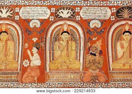Kandy, Sri Lanka - Jan 7, 2018: Kings And Common People Worshiping Buddha On Fresco Of The 14th Cent