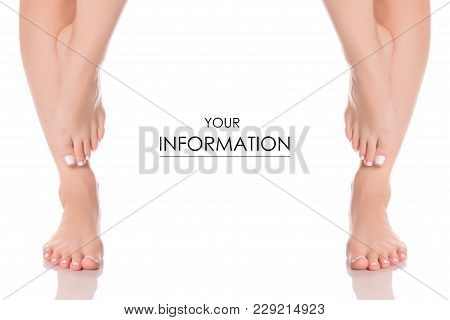 Set Female Feet Legs Heel Of Foot From Different Directions Medicine Beauty Health Template On A Whi