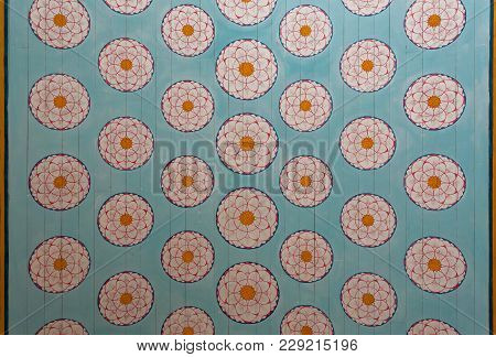 Kandy Sri Lanka - Jan 6, 2017: Colorful Patterns Of The Old Paintings, Flowers On Wooden Ceiling Of